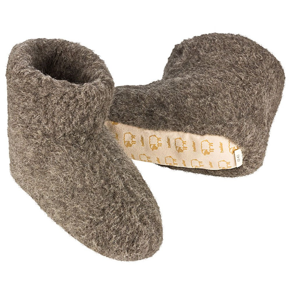 Heller Vertrieb 100% Pure Sheep Wool Slippers Cosy House Shoes Boots Women's 9-10.5 Men's 7-8 (M) Charcoal Grey