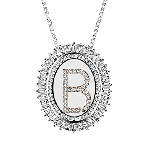 74ac56a2b65b Caperci Jewelry Oval Cubic Zirconia Alphabet Pendant Necklace with 26  Initial Letters from A-Z