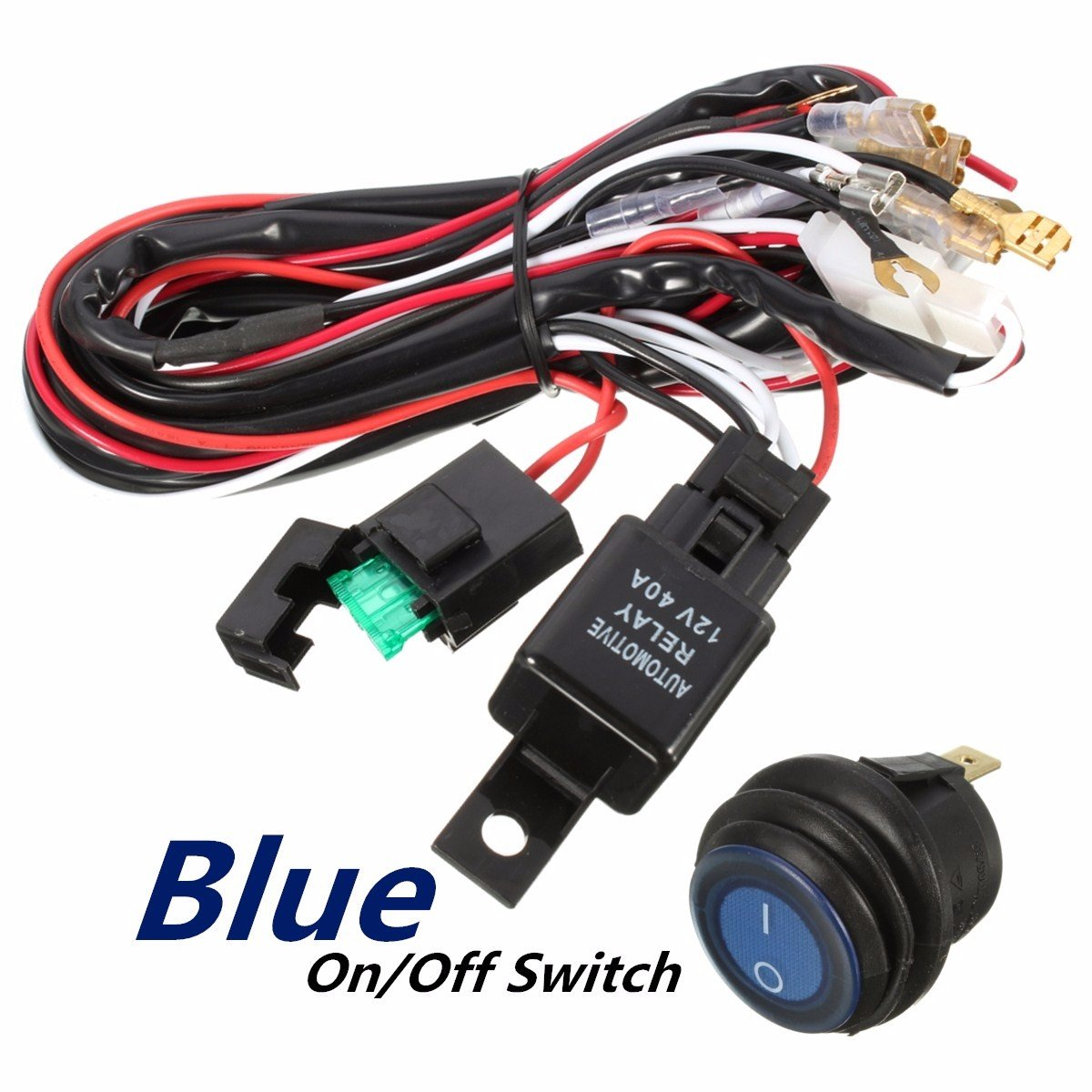 Amazon.com: Audew Wiring Harness, Heavy Duty Wiring Harness Kit for Led  Light bar 300W 12V 40A Fuse Relay On/Off Switch Relay 14AWG 12FT Length  Universal ...