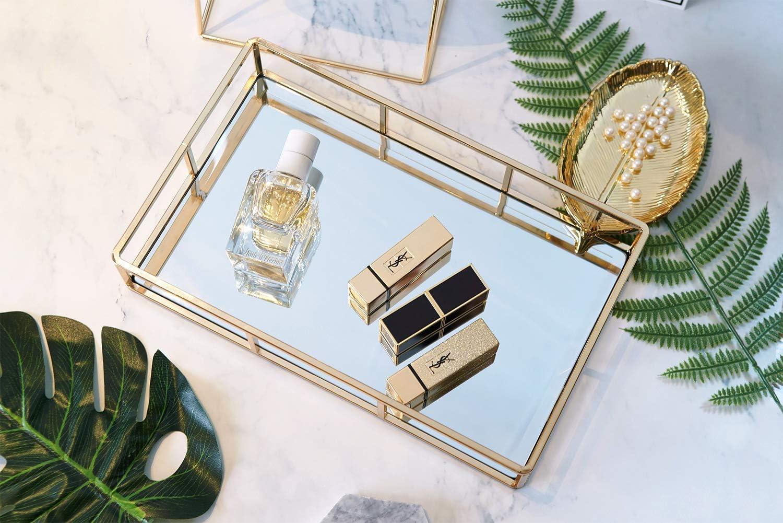 Etc ACAMPTAR Miroir de Plateau en Or Un Magazine et Plus Encore du Maquillage Plateau de Miroir Rectangulaire Pouvant Contenir Parfums des Cosm/éTiques des Bijoux 12X8X2 Pouces
