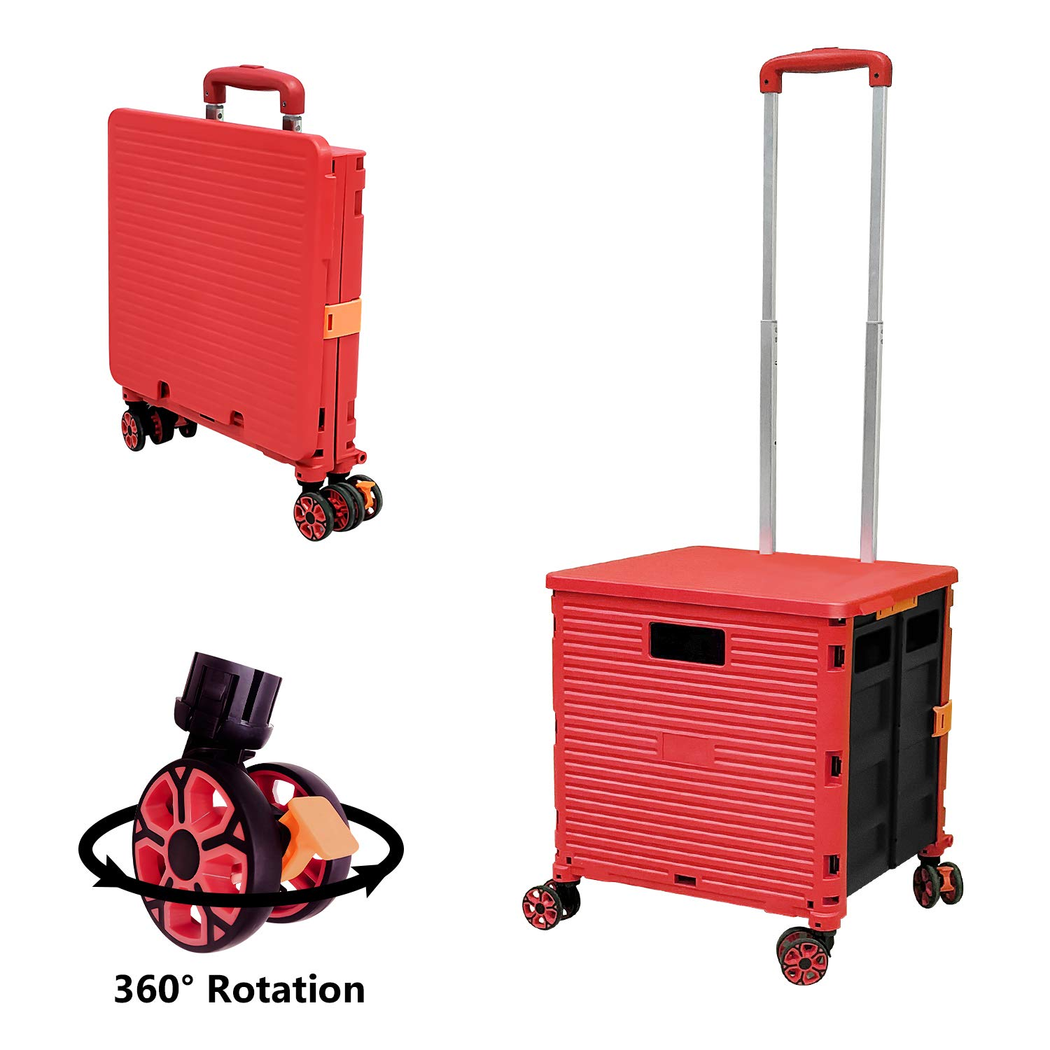 Quick Utility Cart Folding Portable Rolling Crate Handcart with Durable Heavy Duty Plastic Telescoping Handle Collapsible 4 Rotate Wheels for Travel Shopping Moving Luggage Office Use (Red)