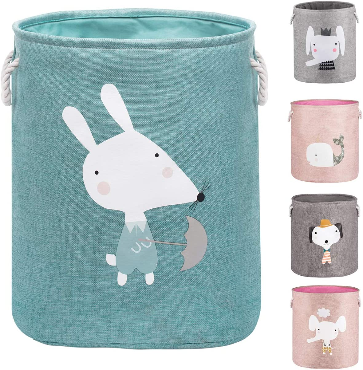 """AXHOP 22"""" Upgrade Large Collapsible Laundry Basket with Lid, Toy Storage Baskets Bin for Kids, Dog, Toys, Blanket, Clothes, Cute Animal Laundry Hamper(Green Mouse)"""