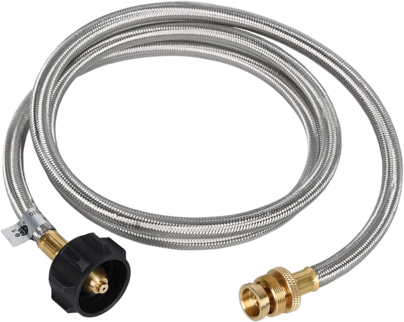 GGC 4FT Stainless Steel Braided Propane Adapter Hose 1 lb to 20 lb Converter for QCC1/Type 1 LP Tank to 1 LB Portable Grill, Camp Stove, Buddy Heater