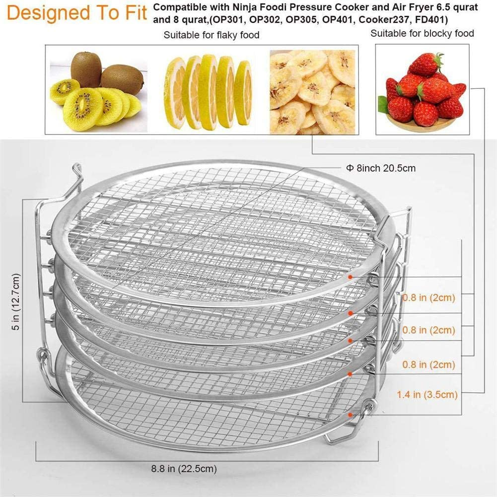 Stainless Steel Baking and Cooling Steaming Rack Stackable Design Accessories Funarrow Air Fryers with Five Layer Rack Perfect for Pressure Cookers and Air Fryers with 6.5 Quarts and 8 Quarts