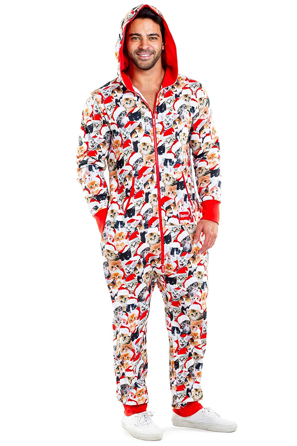 Christmas Jumpsuit Womens.Women S And Men S Unisex Meowy Catmus Ugly Christmas Sweater Party Jumpsuit Adult Christmas Cat Onesie