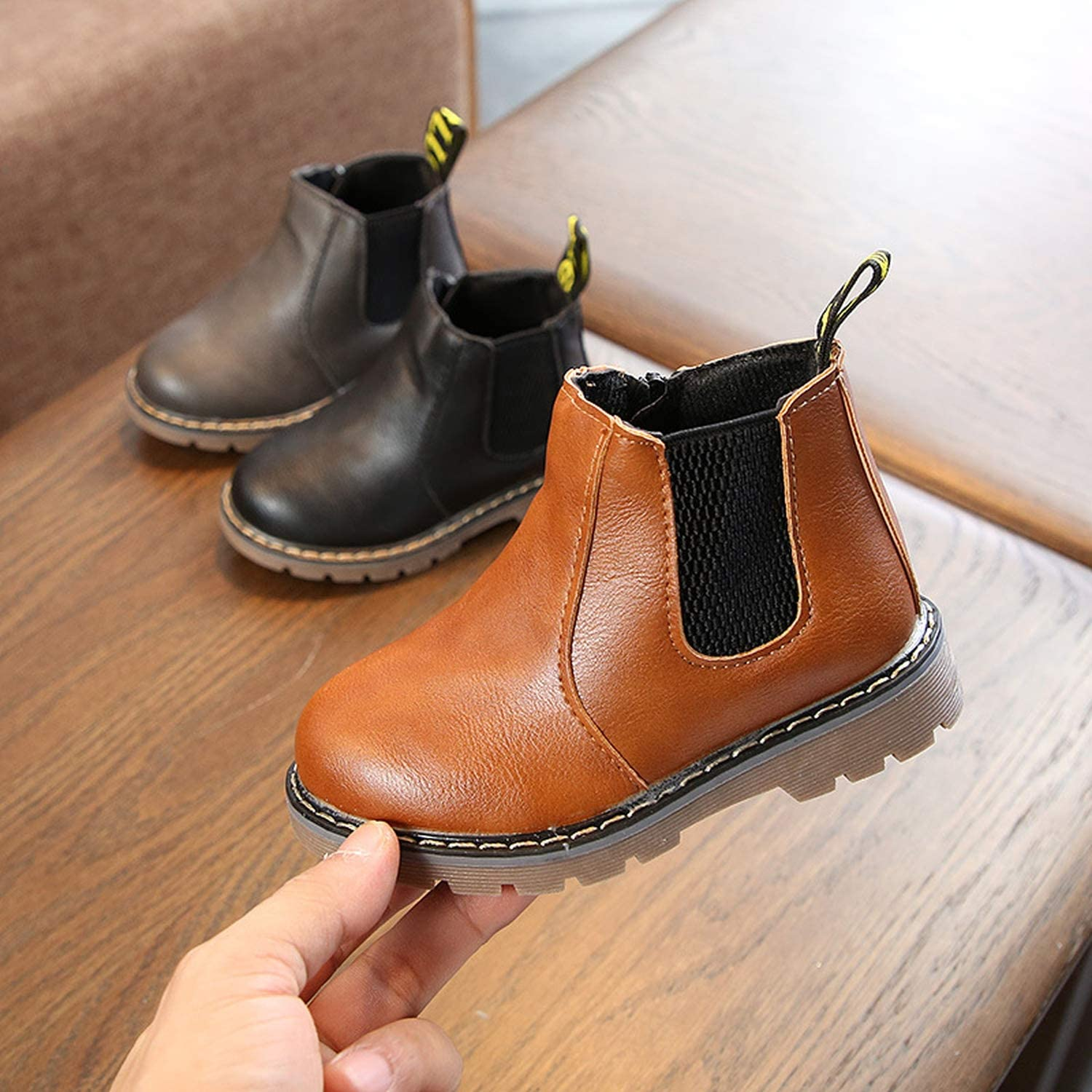 Childrens Martin Boots 2018 Autumn Winter Warm Plush Ankle Boots Kids Girls Casual Shoes Boys Baby Leather Boots