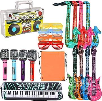 WOWOSS 19 pcs Inflables de Juguete Guitarra micrófono saxofón música Prop para Fiesta, Piscina Instrumentos Inflable para la Decoración (Multi tamaños)