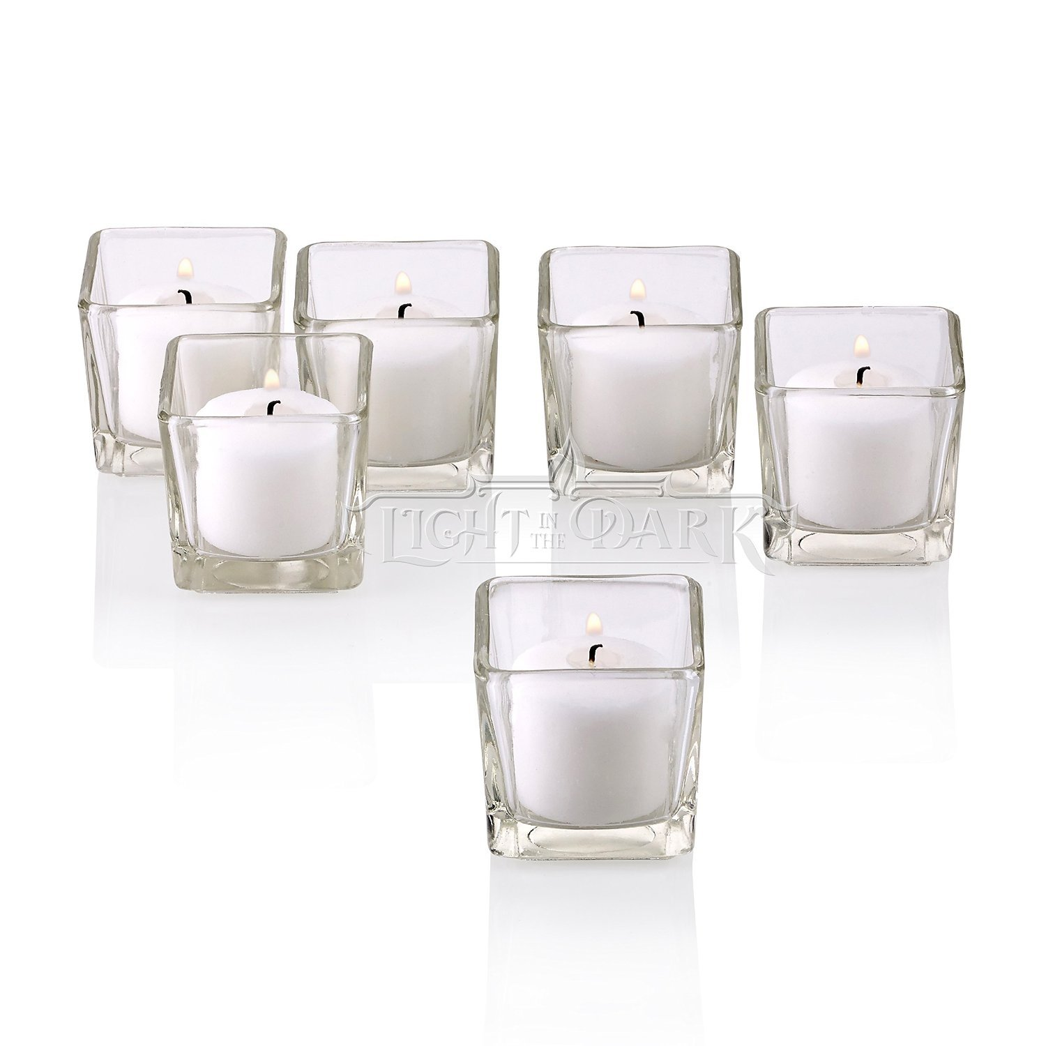 Clear Glass Square Votive Candle Holders With White votive candles Burn 10 Hours Set of 72