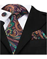 Hi-Tie Floral Ties for Men Woven Silk Tie Pocket Square Cufflinks set