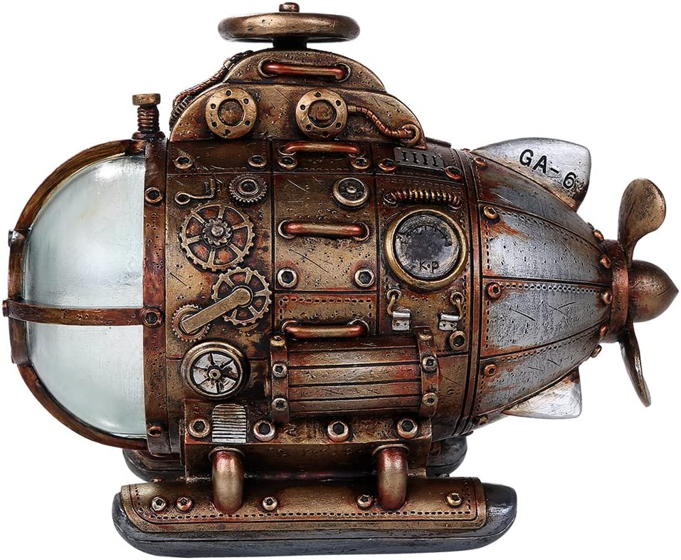 Pacific Giftware Steampunk Nautilus Explorer Submarine Collectible Sci Fi Fantasy Figurine with Color Changing LED Lights Battery Operated 7.75 Inches Long