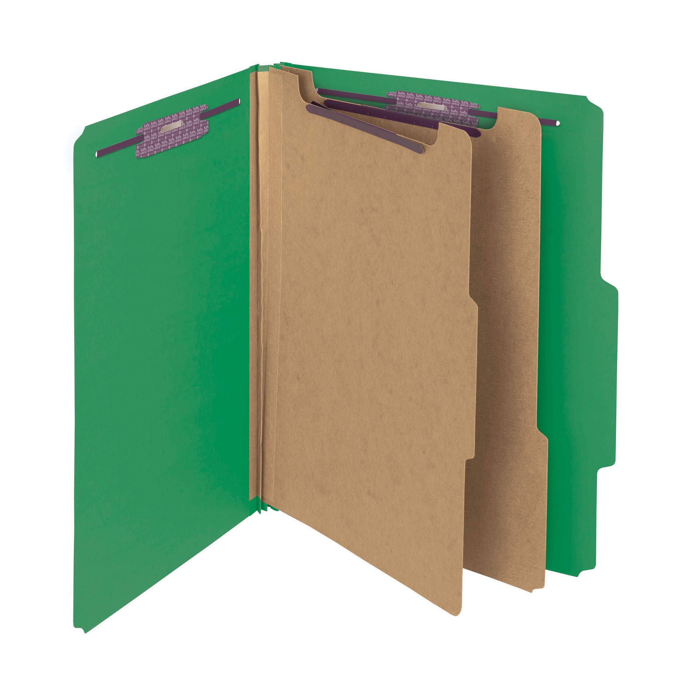 Smead Pressboard Classification File Folder with SafeSHIELD Fasteners, 2 Dividers, 2'' Expansion, Letter Size, Green, 10 per Box (14033)