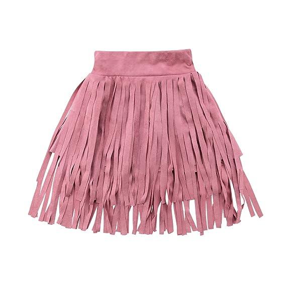 WANGSGOGO Falda de Ante sintético con borlas para niñas de 1 a 6 ...