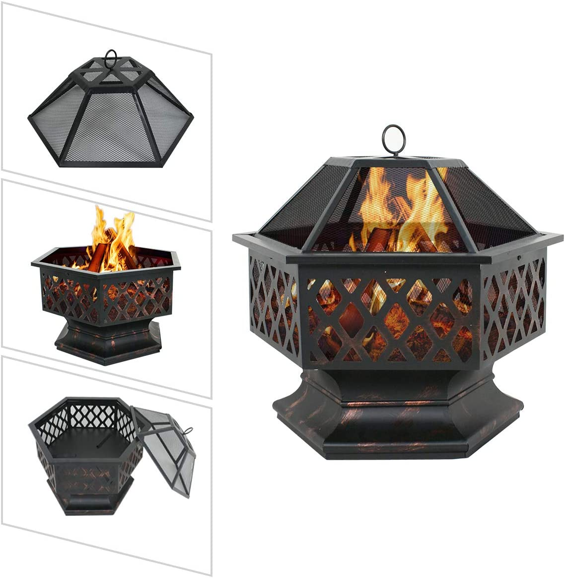 LEMY Hex Shaped Fire Pit Wood Burning Fireplace Firepit Bowl with Spark Screen Cover Patio Backyard Heater Steel 24