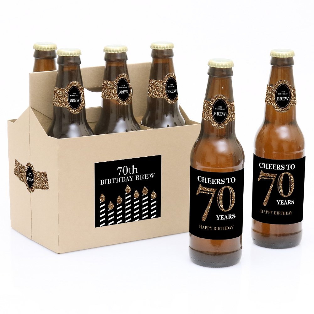 Adult 70th Birthday - Gold - Birthday Party Decorations for Women and Men - 6 Beer Bottle Label Stickers and 1 Carrier