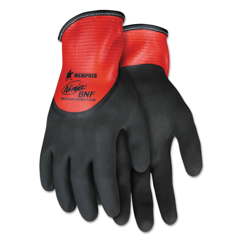 Memphis N96785XL Ninja N96785 Full Nitrile Dip BNF Gloves Red/Black X-Large 1 Dozen