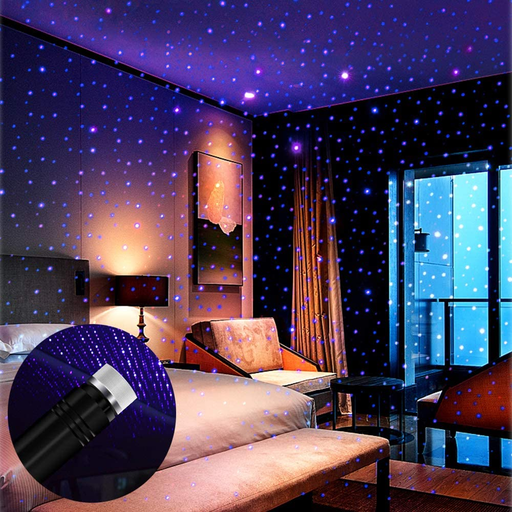 Star Projector Night Light, BAILONGJU Auto Roof Lights, Adjustable Romantic Violet Blue Interior Car Lights, Portable USB Night Light Decorations for Car, Ceiling, Bedroom