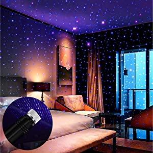 Star Projector Night Light, BAILONGJU Auto Roof Lights, Adjustable Romantic Violet Blue Interior Car Lights, Portable USB Night Light Decorations for Car, Ceiling, Bedroom