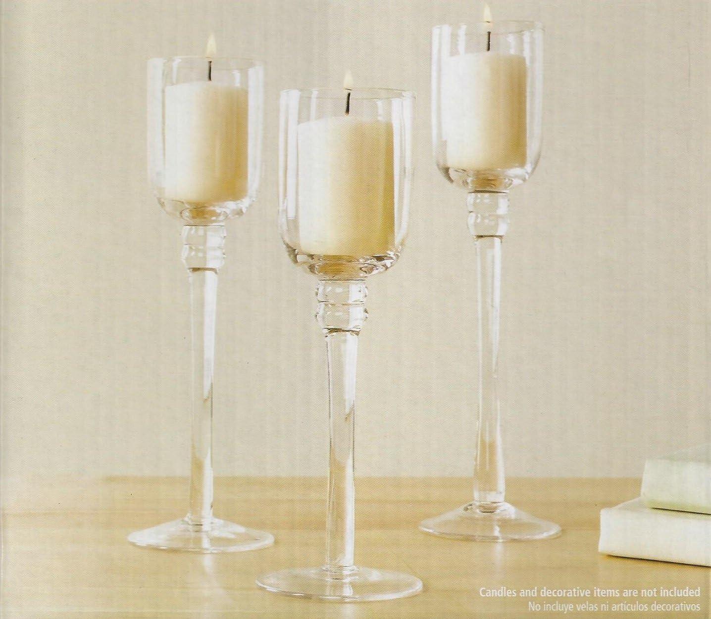 Amazon Com Mainstays Votive Tealight Holder Set 3 Glass Holders Variety Of Heights Home Kitchen