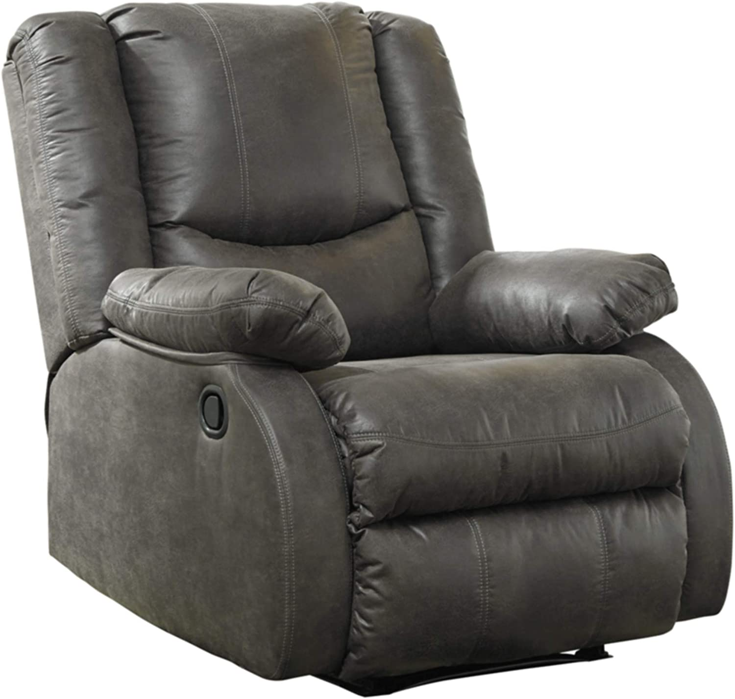 Signature Design by Ashley - Bladewood Casual Faux Leather Zero Wall Recliner - Pull Tab Reclining - Gray