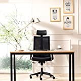 CMO Mesh Ergonomic Office Managers High Back Chair with 2-to-1 Synchro-Tilt Control, Big and Tall Ergonomic Chair with Adjustable Armrests and Headrest, Black