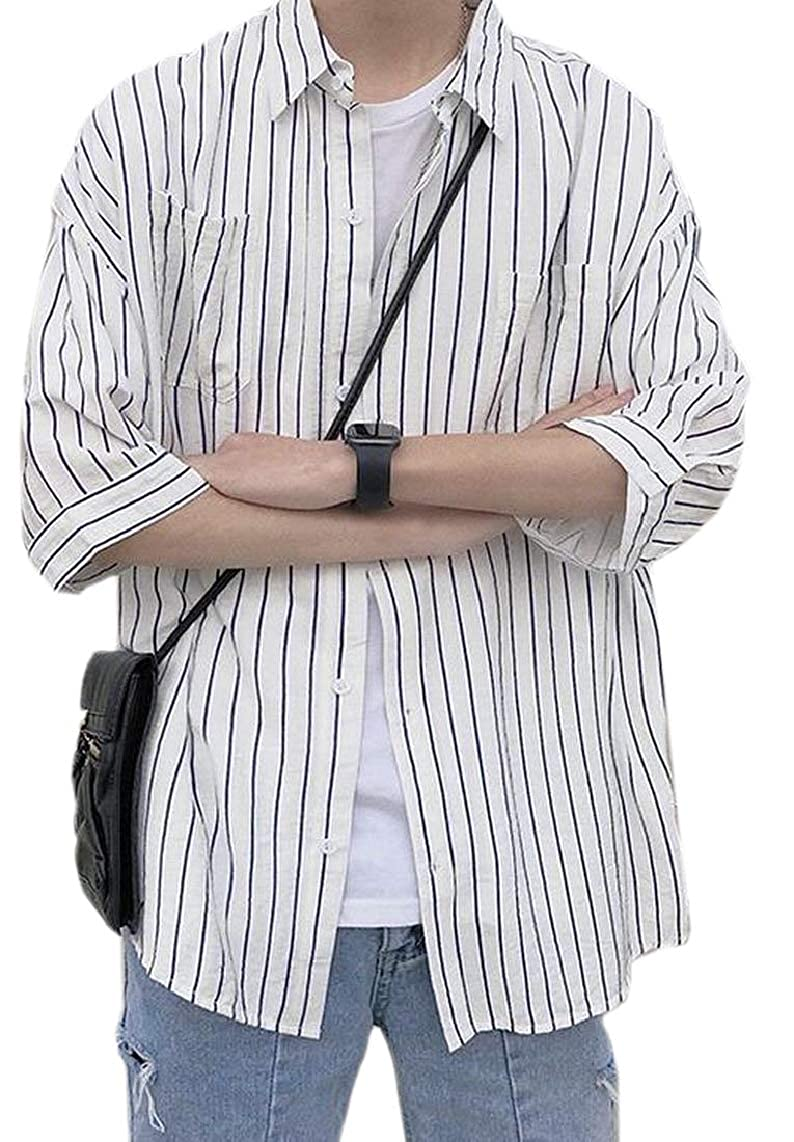 Hokny TD Mens Graphic Stripe Short Sleeve Relaxed Fit Button Front Shirts