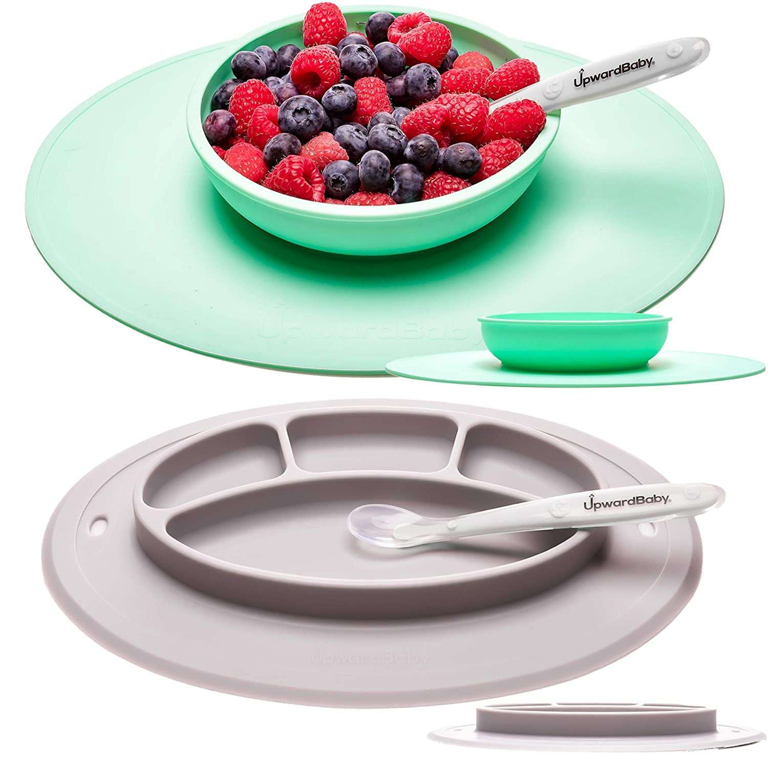 Suction Baby Plates and Bowls Set for Babies - UpwardBaby Silicone Non Slip Toddler Feeding Set Kids Placemats with Spoons Included - BPA Free