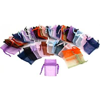 Amazon.com: 48 Organza Drawstring Pouches Gift Bags Assorted ...