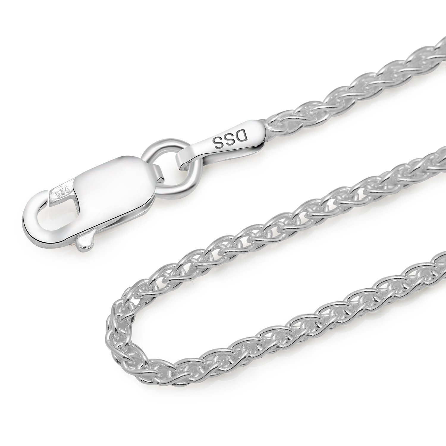 925 Sterling Silver 1.3MM Wheat Chain Lobster Claw Clasp 24'' by Designer Sterling Silver (Image #3)