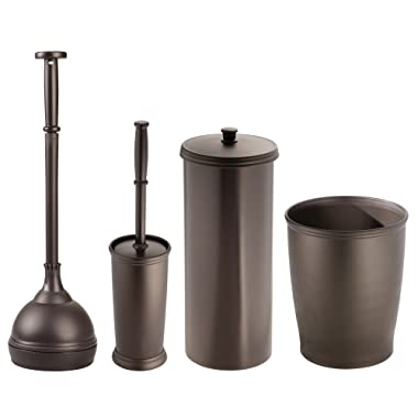 mDesign Plunger Bowl Brush, Trash Can, Toilet Paper Roll Canister and Toilet Brush Bathroom Accessory Set - Pack of 4, Bronze