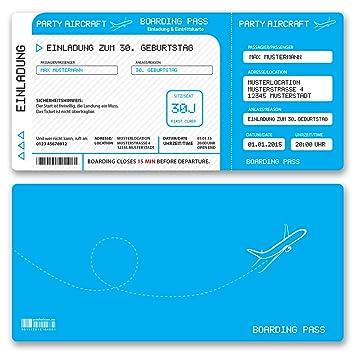 50 x) Einladungskarten Geburtstag Flugticket Ticket Karte ...