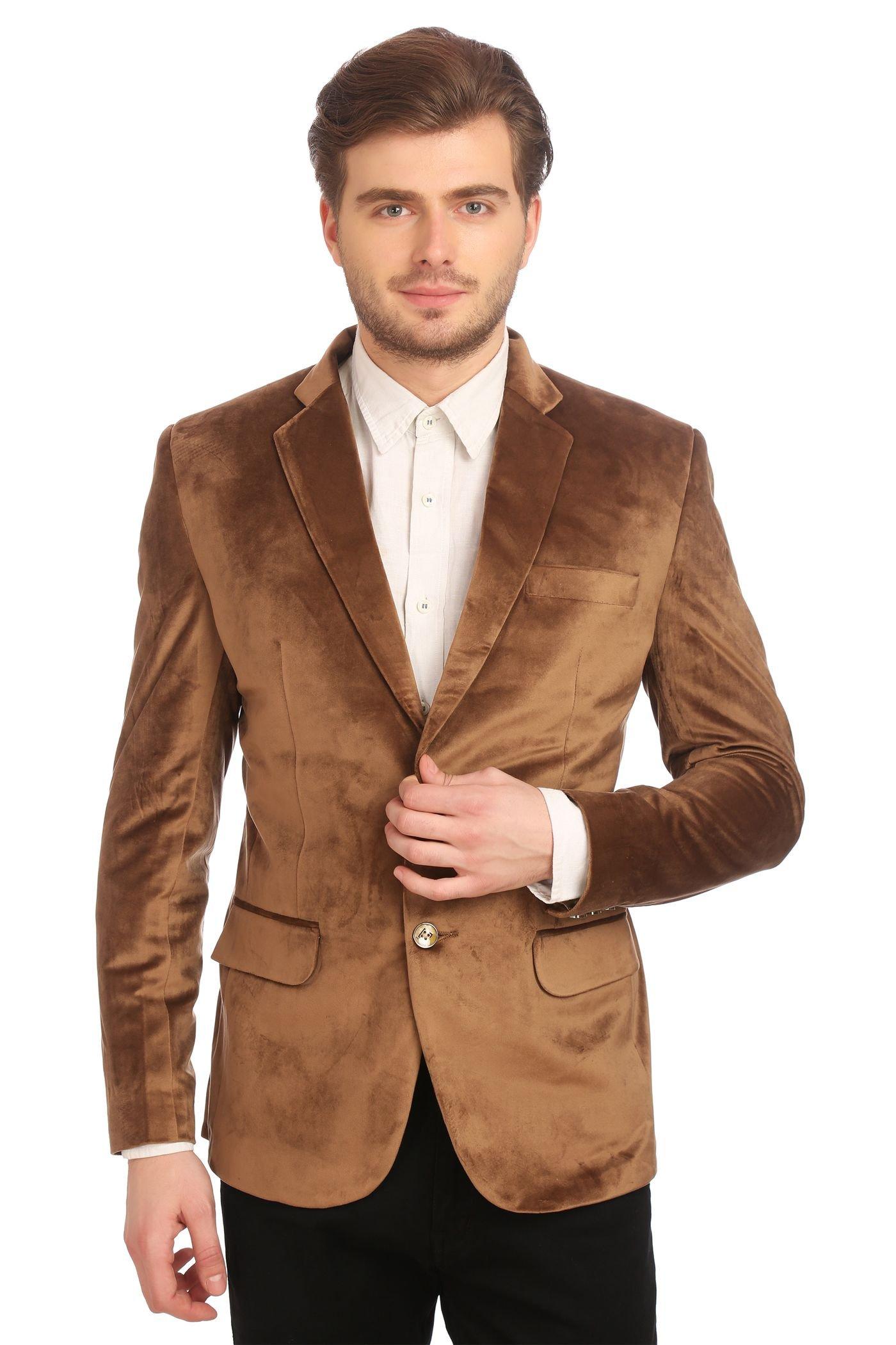 Wintage Men's Velvet Two Buttoned Notch Lapel Party Camel Coat Blazer-5XL by WINTAGE