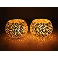 Aironx Snowflake Or Star Bisque Tealight Holder Set of 2 (Glass)