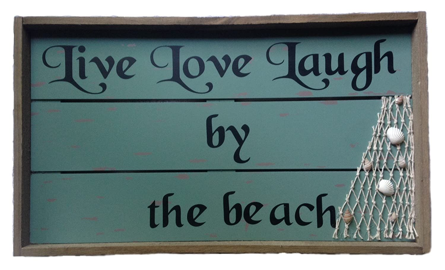 Painted Wooden Sign with Seashell Accents Live Love Laugh by The Beach Hanging Decor Quote Sign