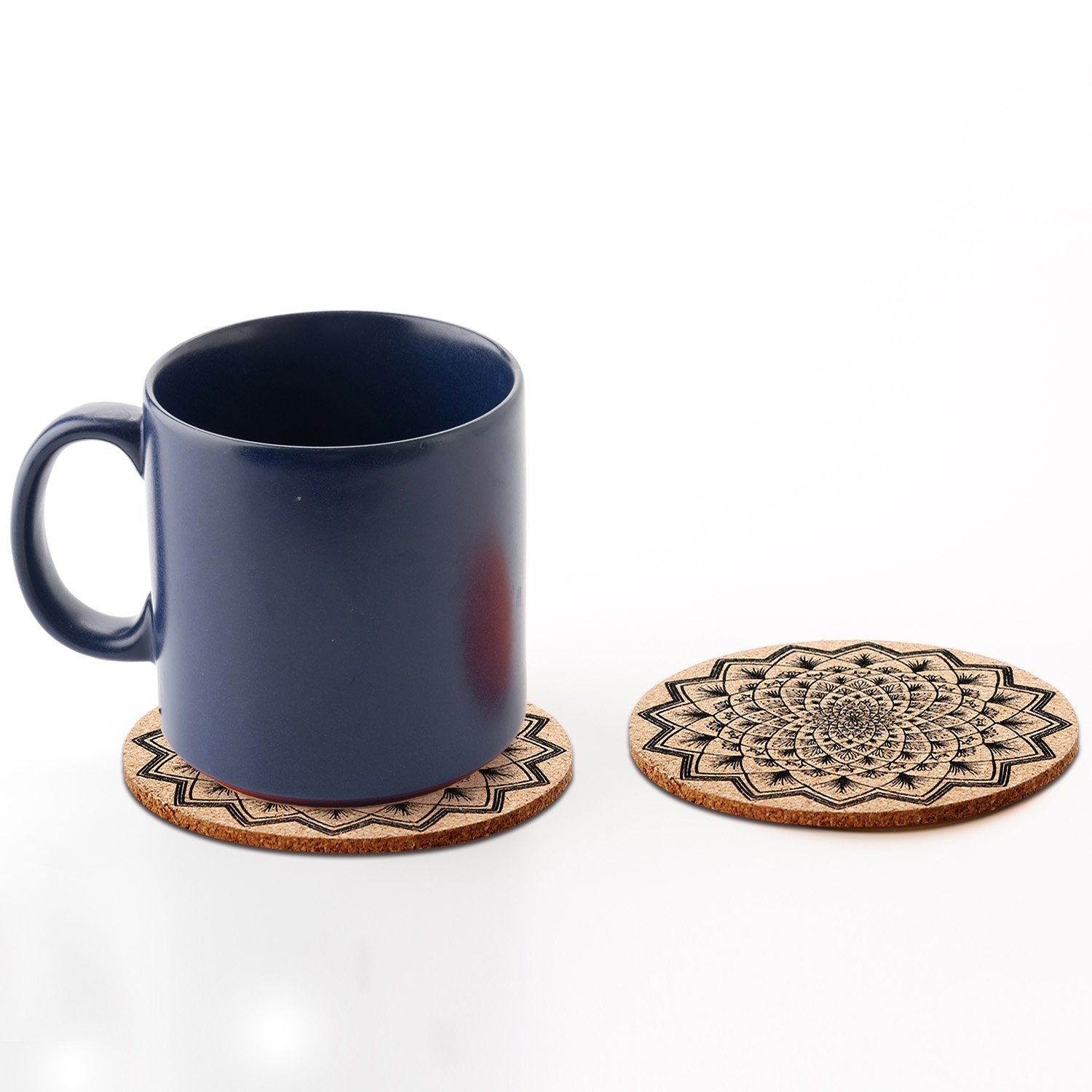 Tatuo 12 Pieces Cork Coasters for Drinks Absorbent Reusable Cup Mat Drink Coaster for Home Restaurant Office and Bar, 4 Inches by Tatuo (Image #7)