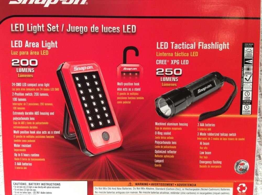 Amazon.com: Snap-on Tool LED Light Set 250 Lumens Tactical Flashlight & 200 Lumens Area Lite: Home & Kitchen