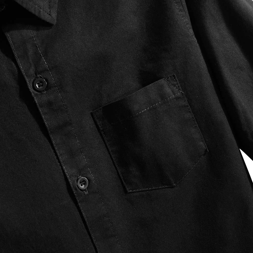 Spring&Gege Boys' Short Sleeve Solid Formal Cotton Twill Dress Shirts Black 5-6 Years by Spring&Gege (Image #5)