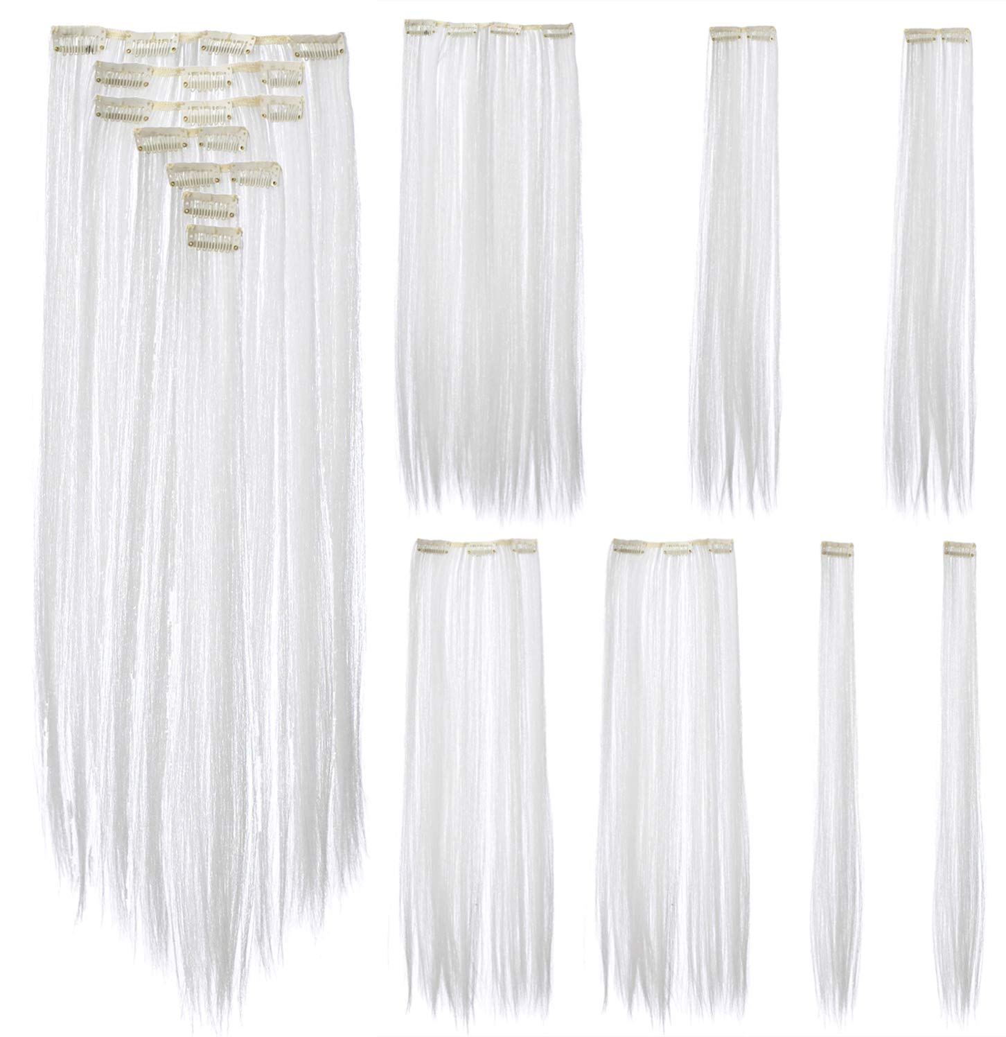 SWACC 7 Pcs Full Head Party Highlights Clip on in Hair Extensions Colored Hair Streak Synthetic Hairpieces (22-Inch Straight, White) by SWACC