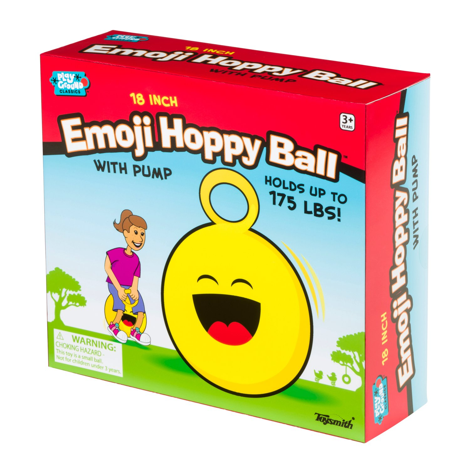 Toysmith 18In Emoji Hoppy Ball with Pump Assorted Styles Ride On