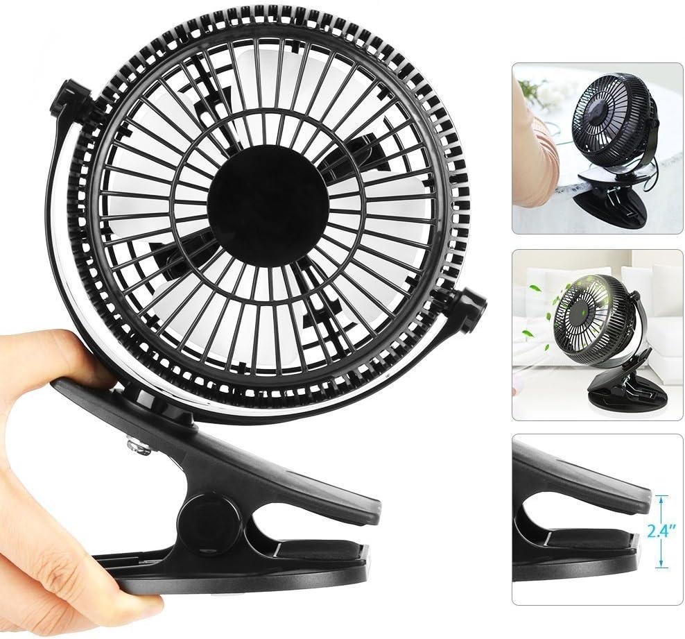 Easthshining Mini Ventilador USB Recargable, VentiladordeMesa Portátil y Silencioso, 360 Grados de Rotación para Oficina,Dormitorio, PC(Color Negro)