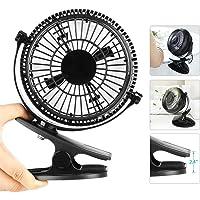 HAUEA leise Ventilator kleiner 360°drehbar Tischventilator mit USB Anschluß und Klemme für Zuhause, Büro und Schreibtisch