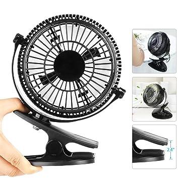 Easthshining Mini Ventilador USB Recargable, Ventilador de Mesa Portátil y Silencioso, 360 Grados de Rotación para Oficina, Dormitorio, PC(Color Negro): ...