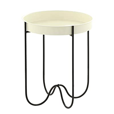 Outdoor Patio Side Table H Potter for Porch Deck Balcony Terrace Indoor Living Room Kitchen White Cream Small Spaces Removable Round Metal Tray Quick Folding End Tables for Coffee Drinks or Appetizers: Kitchen & Dining