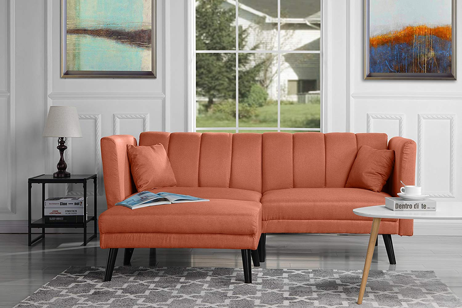 Futon Sleeper Sofa Bed Couch, Convertible Orange Futon Splitback Sofa with Chaise (Sofa to Bed Feature) Modern Futon Sofa Beds L-Shaped Lounger Futon Sofa Couch for Small Space Living by Casa AndreaMilano