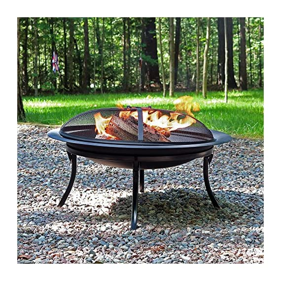 Sunnydaze Portable Outdoor Fire Pit Bowl - 29 Inch Round Bonfire Wood Burning Patio & Backyard Firepit for Outside with Spark Screen, Fireplace Poker, Folding Stand, and Carrying Case Cover - PORTABLE SIZE: Can easily be moved around on the patio, yard, lawn, garden, or while camping at the campground; Overall 29 inch diameter x 24 inch high, weighs 12 pounds;The base when folded is 8.75 inches tall and the diameter of the base is 23.25 inches HIGH TEMPERATURE PAINT: Firepit is made from heavy duty steel metal and finished with high temperature paint for long-lasting quality and added resistance to rust; Conveniently folds for ease of portability and quick set up in the backyard or for a campfire EVERYTHING INCLUDED: Wood burning fire pit set includes folding stand, mesh spark screen for added protection from flying sparks, fireplace poker tool to easily control the flame, and a travel carrying case so it can be taken anywhere - patio, outdoor-decor, fire-pits-outdoor-fireplaces - 71ieuRW M7L. SS570  -