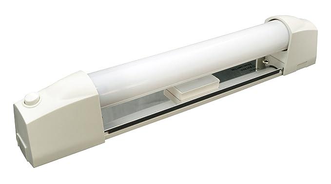 Tibelec 329330 Applique Salle de Bain Blanche avec Tube Fluo, Plastique, 13  W, Blanc, diffuseur + Interrupteur + Prise