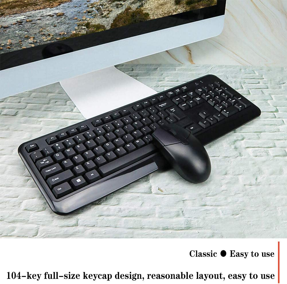 2.4GHz Wireless Transmission USB Plug and Play Black Wireless Keyboard and Mouse Combination for Windows XP 7//8//9//10 Mac System