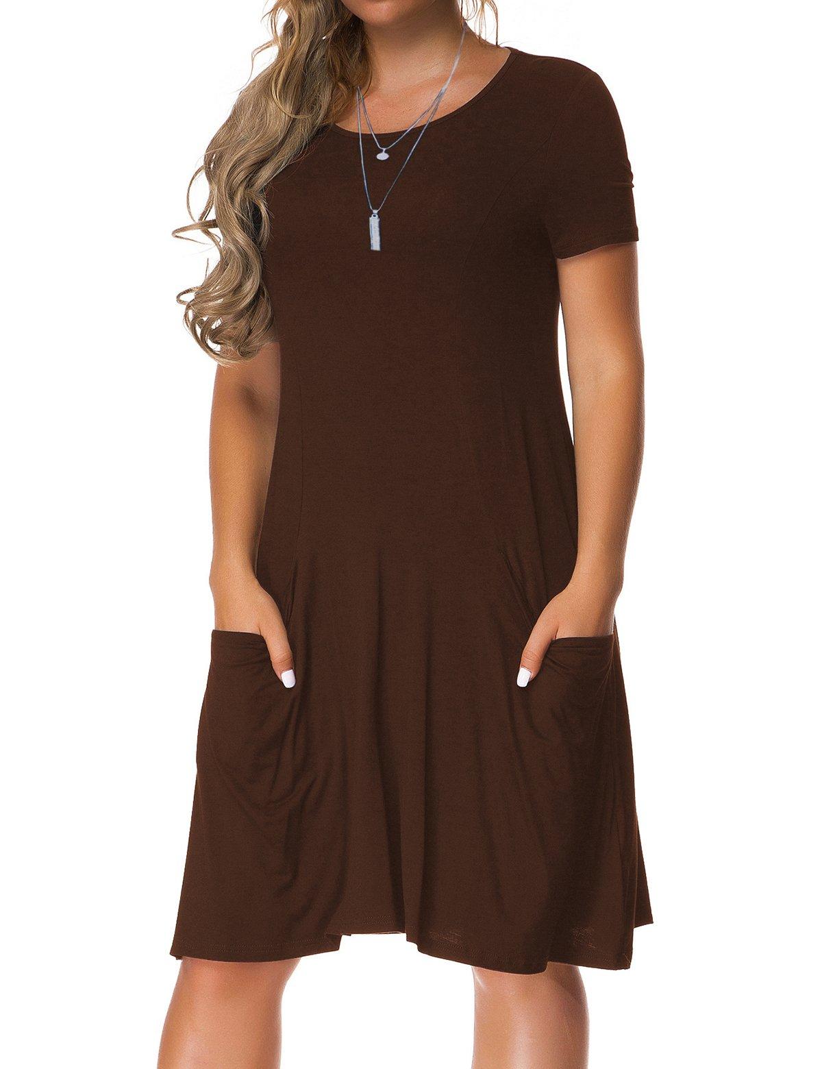 VERABENDI Women's Short Sleeve Dress Casual Loose Pocket T-Shirt Dress Coffee 2XL