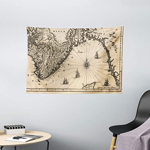 Ambesonne World Map Tapestry, Map of Southern Part of The Norway Vikings World Old Scandinavian Land, Wide Wall Hanging for Bedroom Living Room Dorm, 60 X 40 , Cream Grey