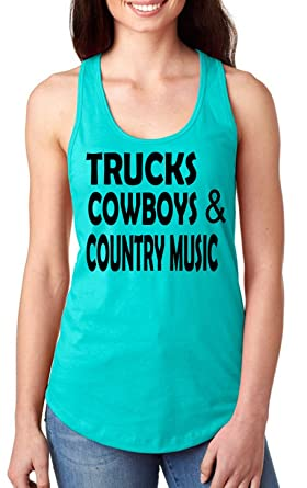 af58c01e5bc123 Anicelook Trucks Cowboys and Country Music Womens Tank Top Sytle 2 (Small