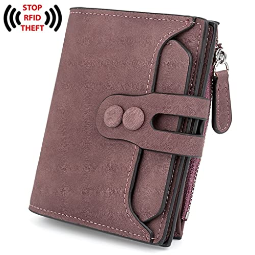 UTO Women's RFID Blocking PU Matte Leather Wallet Card Holder Organizer Girls Coin Purse with Snap C...